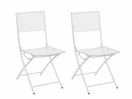 Gartenstuhl 2er Set Metall DENTELLE   Weiß