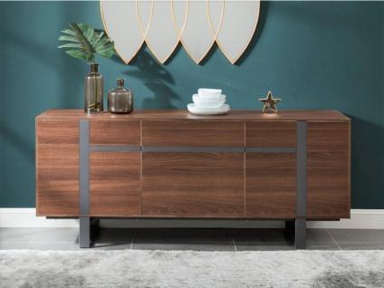 Sideboard PETILLANTE - 3 Türen & 1 Schublade - Nussholzfarben - Vorschau 2