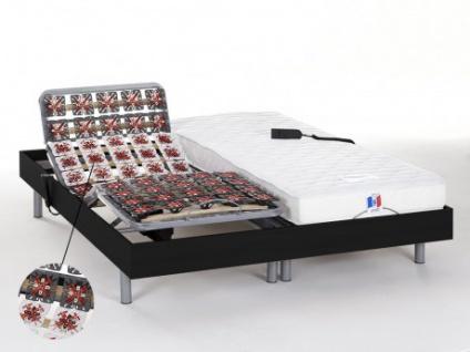Matratzen elektrischer Lattenrost 2er-Set mit Okin-Motor Homere III - Schwarz - 2x 80x200 cm