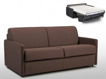 Schlafsofa 3-Sitzer Stoff CALIFE - Braun - Liegefläche: 140 cm - Matratzenhöhe: 18cm