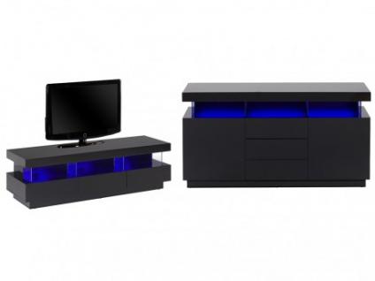 sparset fabio sideboard tv mobel 2 tlg schwarz