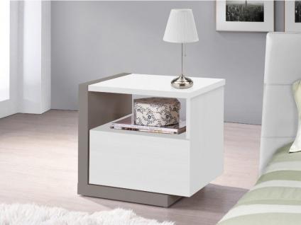 Nachttisch NAPOLI - 1 Schublade - Weiß & Grau