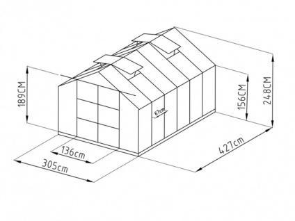 Garten Gewächshaus Aluminium Kalida - 13 m² - Grün - Vorschau 2
