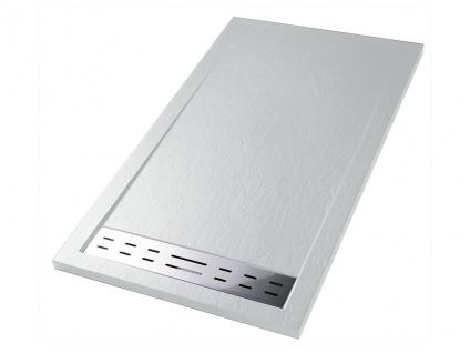 Duschwanne mit Siphon LYROS - 1600x900x40 mm - Weiß