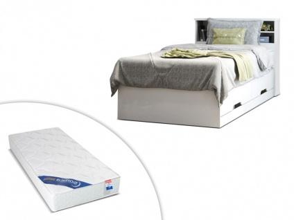 Set Bett mit Bettkasten BORIS + Lattenrost + Matratze - 90x190cm - Weiß