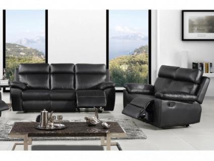 Couchgarnitur 3+2 Relax WIGAN - Schwarz