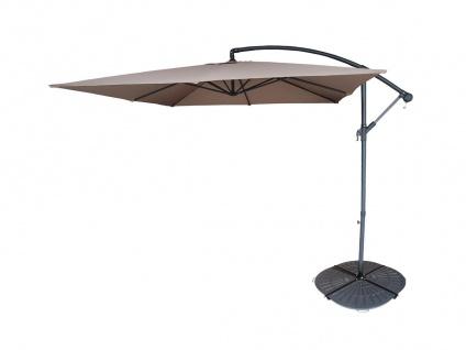Sonnenschirm höhenverstellbar mit Fuß Capelina - D. 250 cm - Taupe + Beschwerungsplatten
