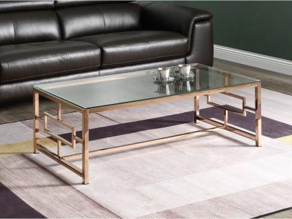 Couchtisch CLOTILDE - Glas & Stahl - Kupferfarben