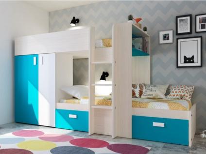 Etagenbett mit Kleiderschrank JULIEN - 2x90x190cm - Eichenholzfarben/Blau