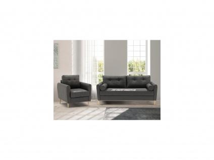 Couchgarnitur 3+1 FLEN - Stoff - Dunkelgrau