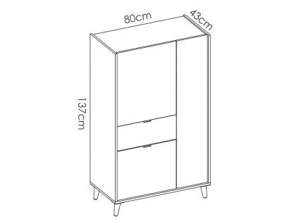 Vitrinenschrank BICA - 3 Türen & 1 Schublade - Mehrfarbig - Vorschau 5