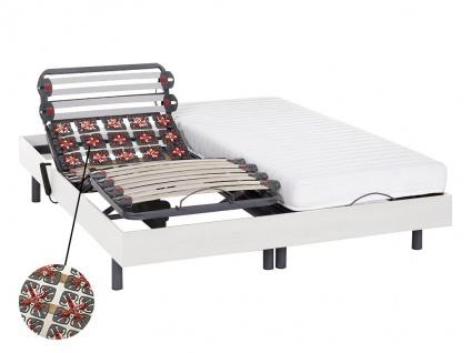 Relax-Kombination Latten und Tellermodule - PANDORA II von DREAMEA - OKIN-Motoren - weiß - 2x80x200cm