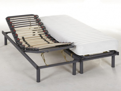 Matratzen 3-Zonen-Lattenrost Set verstellbar KUTA von DREAMEA - 2x80x200cm