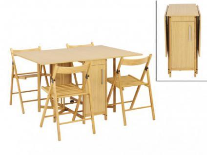 Essgruppe Holz massiv Emeline: 1 Klapptisch & 4 Stühle - Holzfarben