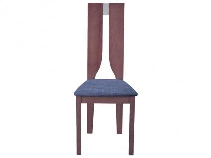 Stuhl 6er-Set SILVIA - Buche massiv - Nussbaumfarben & Grau