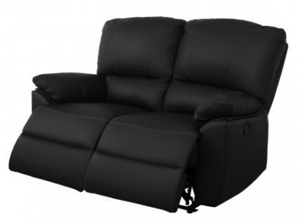 Relaxsofa 2-Sitzer Leder elektrisch Marcis - Schwarz