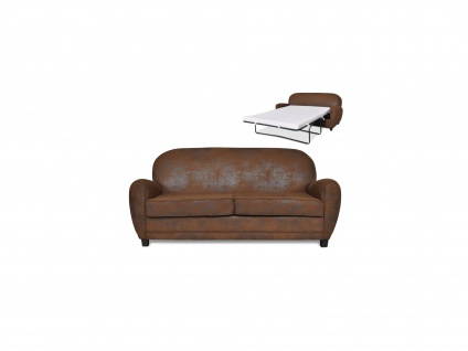 Schlafsofa 3-Sitzer RICKY - Microfaser - Vintage Look