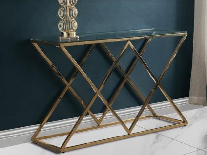 Wandkonsole CHARLOTTE - Glas & Stahl - Goldfarben