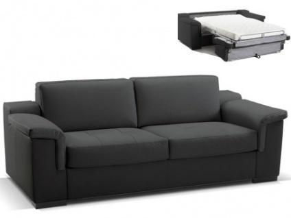 Ledersofa Schlafsofa mit Matratze 3-Sitzer Hippias II - Luxusleder - Schwarz