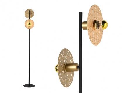 Stehleuchte Art Déco HOVY - Metall - H. 155 cm - Goldfarben & Schwarz