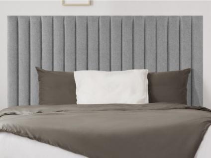Kopfteil Bett SARAH - 140 cm - Stoff - Grau