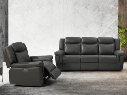 Couchgarnitur Leder mit elektrischer Relaxfunktion 3+1 KENNETH - Taupe