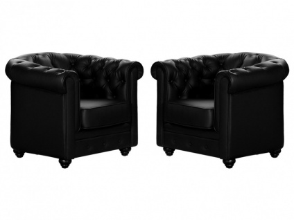 Sessel 2er-Set CHESTERFIELD - Schwarz