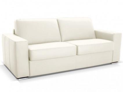 Schlafsofa Leder Express Bettfunktion mit Matratze 3-Sitzer Delectea - Standardleder - Elfenbein
