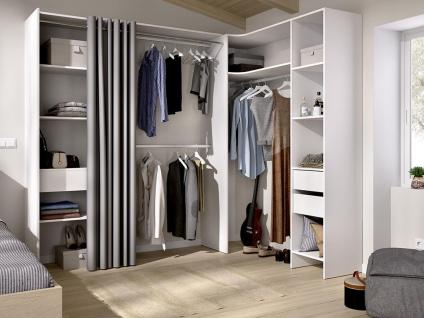 Eckkleiderschrank Kleiderschranksystem GONTRAN - B. 164/214 cm - Weiß & Grau