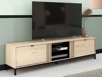 TV-Möbel RISLANE - 2 Ablagen & 2 Schubladen - Eiche & Schwarz