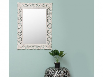 Wandspiegel Barockstil MANELE - B. 60 x H. 80 cm - Weiß patiniert - Vorschau 1