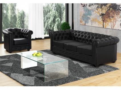 Couchgarnitur 3+1 CHESTERFIELD - Schwarz