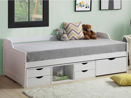 Bett mit Stauraum ADELISE - 90x190cm - Weiß