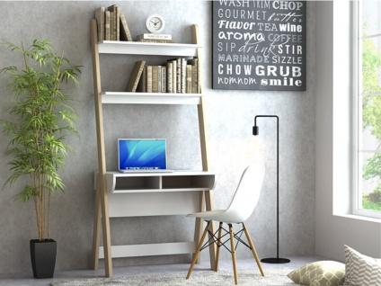 Schreibtisch mit Regal ESKALI - Weiß & Eichefarben