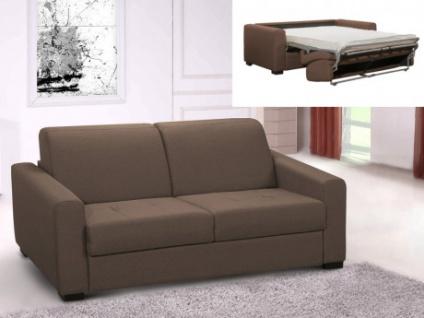 Schlafsofa Stoff Express Bettfunktion 3-Sitzer AMYR - Camel - Matratzenhöhe: 14 cm