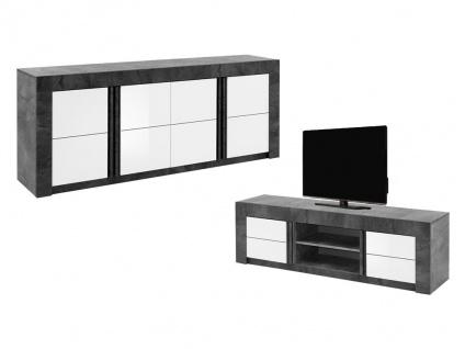 Sparset ESSIA: Sideboard + TV-Möbel - Schiefer-Optik & Weiß