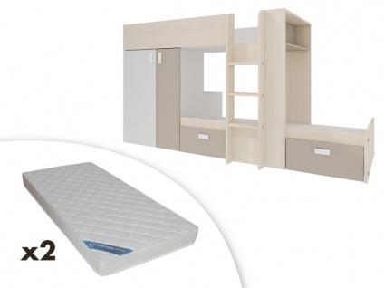 Set Etagenbett mit Kleiderschrank JULIEN + 2 Matratzen - 2x90x190cm - Weiß & Taupe