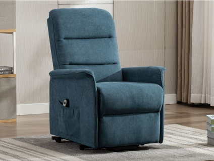 Relaxsessel Fernsehsessel elektrisch CAPUCINE - Stoff - Blau