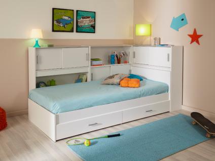 PARISOT Kinderbett mit Regal SNOOP - 90 x 190 cm + Lattenrost + Matratze