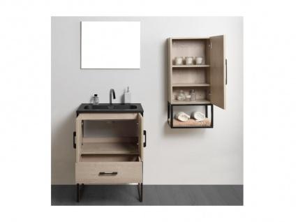 Komplettbad PHENA - Unterschrank + Waschbecken + Spiegel + Oberschrank - Holz-Optik - Vorschau 2