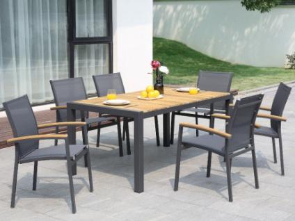 Garten Essgruppe VAIAKU - Tisch & 6 Stühle - Anthrazit