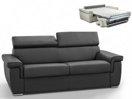 Schlafsofa 3-Sitzer ALTESSE - Anthrazit mit Ziernaht Schwarz - Liegefläche: 140cm - Matratzenhöhe: 14cm