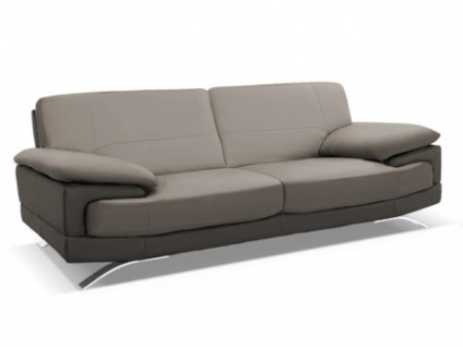 Ledersofa 3-Sitzer Emotion - Luxusleder - Zweifarbig: Grau-Anthrazit