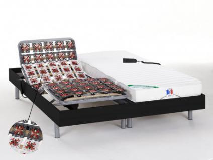Matratzen elektrischer Lattenrost 2er-Set mit Okin-Motor HOMERA - Schwarz - 2x80x200 cm