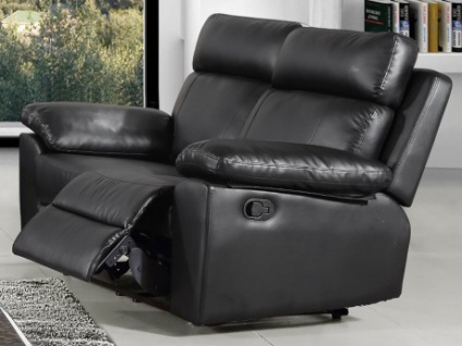 Relaxsofa 2-Sitzer WIGAN - Schwarz