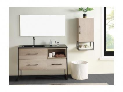 Komplettbad SELANE - Unterschrank + Waschbecken + Spiegel + Regal - Holz-Optik - Vorschau 3