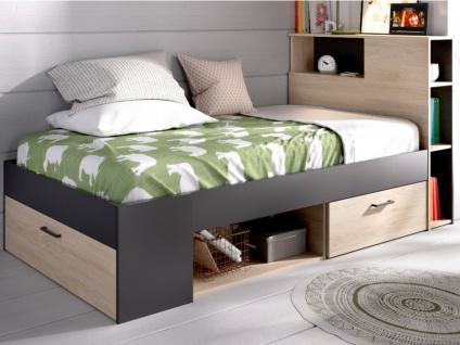 Bett mit Stauraum & Schubladen LEANDRE - 90x190 cm - Eiche & Anthrazit