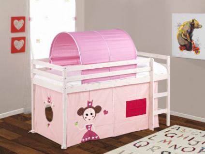 Kinderbett Halbhochbett Holz massiv Kate ohne Matratze - 90x190cm