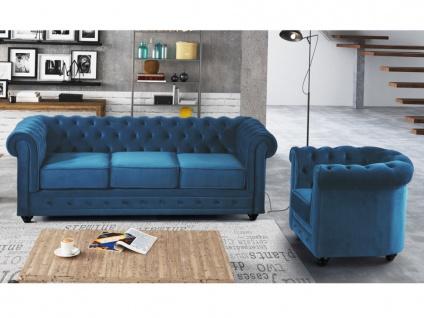 Couchgarnitur 3+1 Samt Chesterfield ANNA - Grünblau