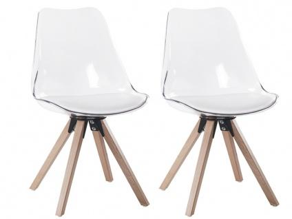 Stuhl 2er-Set LOVA - Polycarbonat - Weiß Transparent